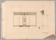 Scan of photo-mechanical drawing, ink and wash, of Alterations to 401 Sauchiehall Street; N. elevation and section
