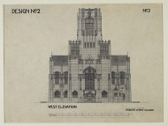Scan of B/W drawing of Competition design for Liverpool Cathedral; W. elevation