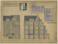 Scan of colour drawing of Design for a block of studios and studio-flats, Chelsea, London; Plan; E. and S. elevations; perspective