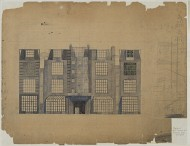Scan of colour drawing of Design for a block of studios and studio-flats, Chelsea, London; Elevation